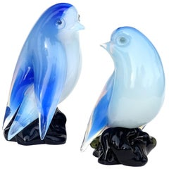 Seguso Murano Vintage Opal White Blue Italian Art Glass Bird Figurine Sculpture