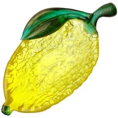 Seguso Murano Yellow Green Gold Flecks Italian Art Glass Lemon Fruit Bowl Dish
