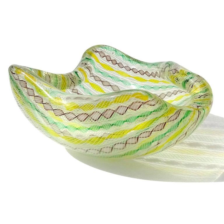 Mid-Century Modern Seguso Murano Yellow Green Purple White Twisting Ribbons Italian Art Glass Bowl For Sale