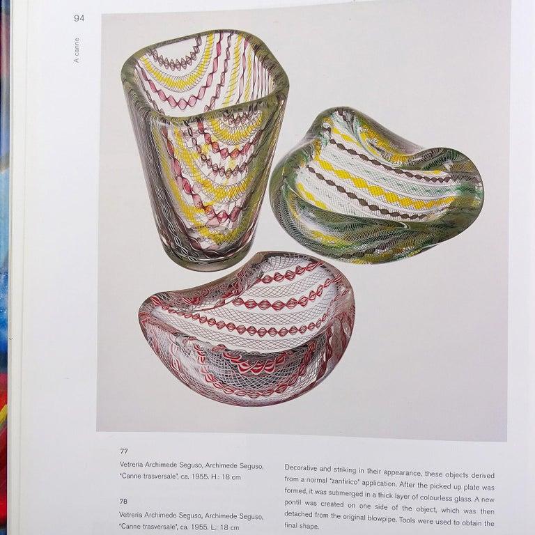 Seguso Murano Yellow Green Purple White Twisting Ribbons Italian Art Glass Bowl For Sale 2