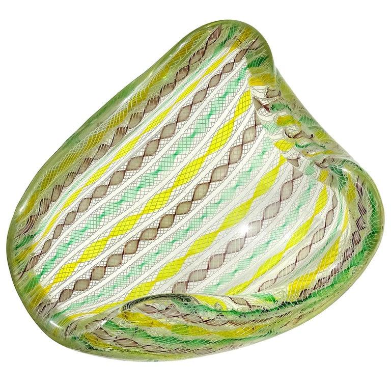 Seguso Murano Yellow Green Purple White Twisting Ribbons Italian Art Glass Bowl For Sale