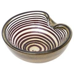 Seguso Murano Zebratti Optical Glass Bowl Vintage
