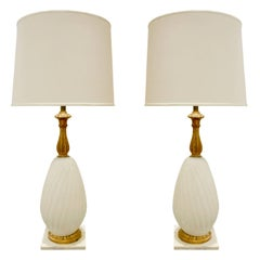 Seguso Pair of Gilded Handblown Glass Table Lamps, 1950s
