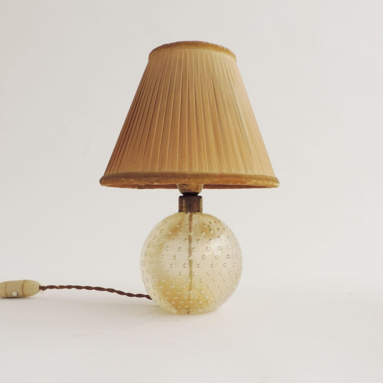 Seguso Pair of Murano Glass Table Lamps, Italy, 1940s In Good Condition In Milan, IT