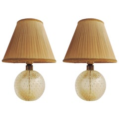 Seguso Pair of Murano Glass Table Lamps, Italy, 1940s