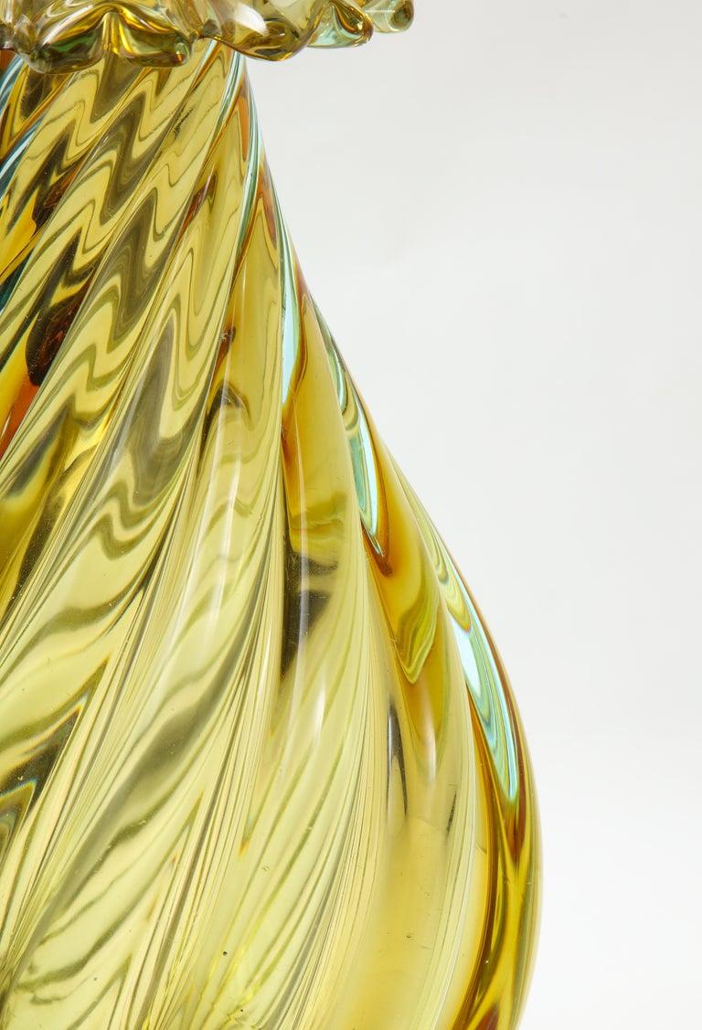 Seguso Peidot Murano Glass Lamps For Sale 3