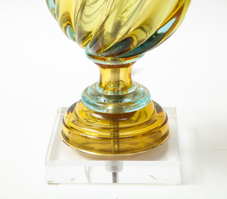 Seguso Peidot Murano Glass Lamps For Sale 4