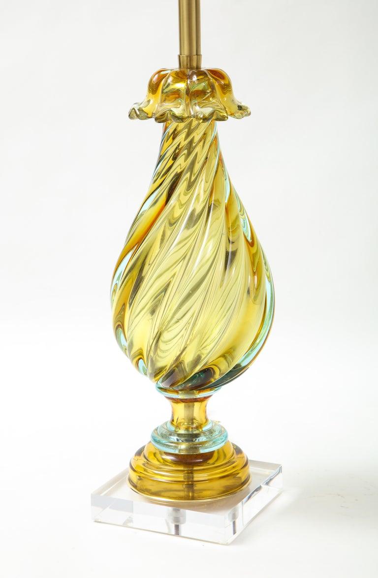 Mid-Century Modern Seguso Peidot Murano Glass Lamps For Sale