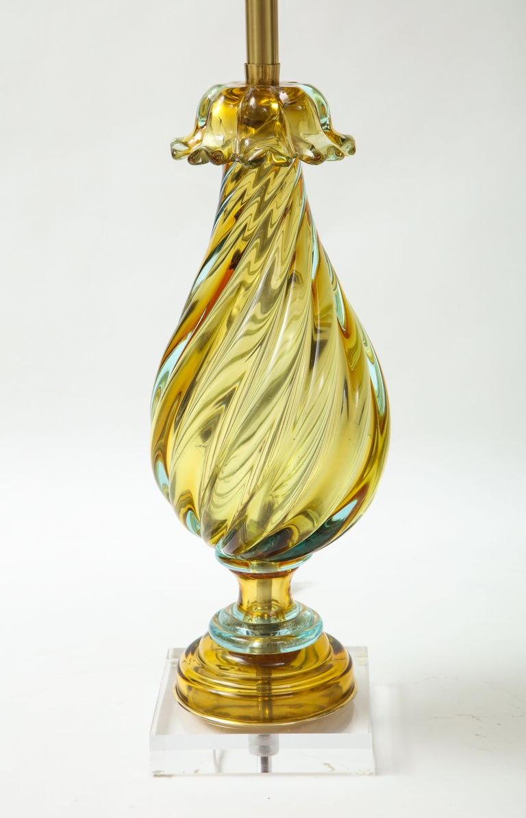 Italian Seguso Peidot Murano Glass Lamps For Sale