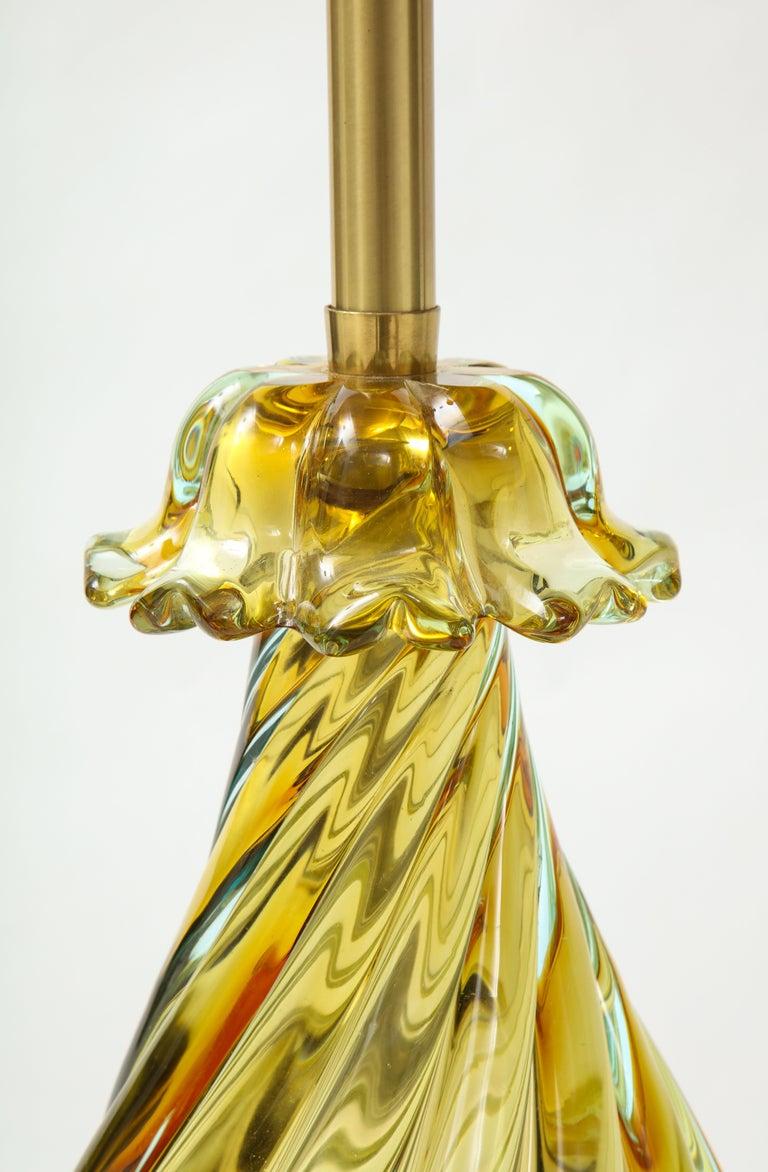 Seguso Peidot Murano Glass Lamps For Sale 1