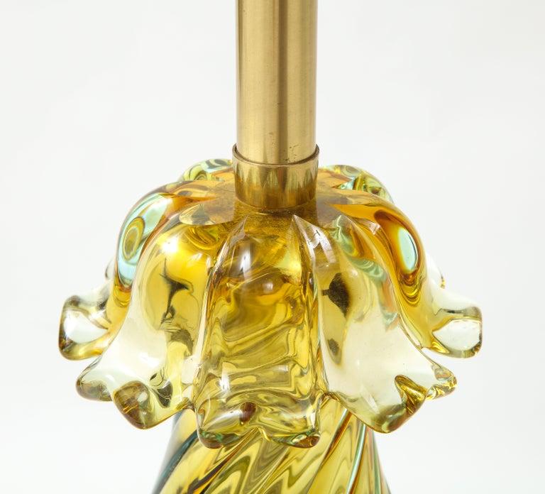 Seguso Peidot Murano Glass Lamps For Sale 2