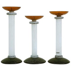Seguso Scavo Candlesticks Attributed to Karl Springer, Set of Three