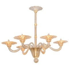 Seguso Six Branch Chandelier