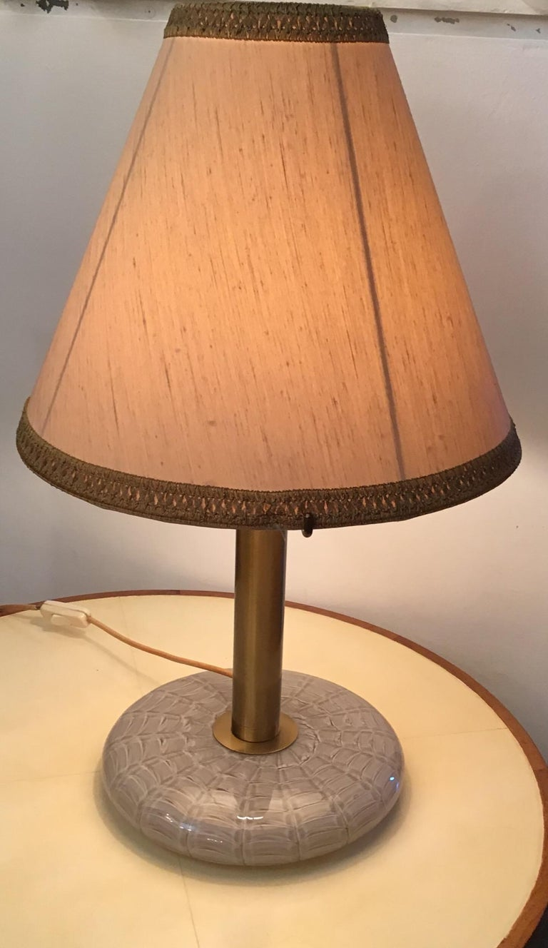 Seguso Table Lamp 1960 Feathered Murano Glass Brass Frame and Fabric Lampshade For Sale 7