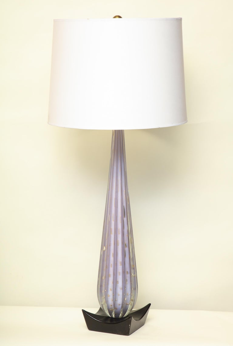 Seguso Table Lamp Mid-Century Modern Murano Art Glass, Italy, 1950s In Good Condition For Sale In New York, NY