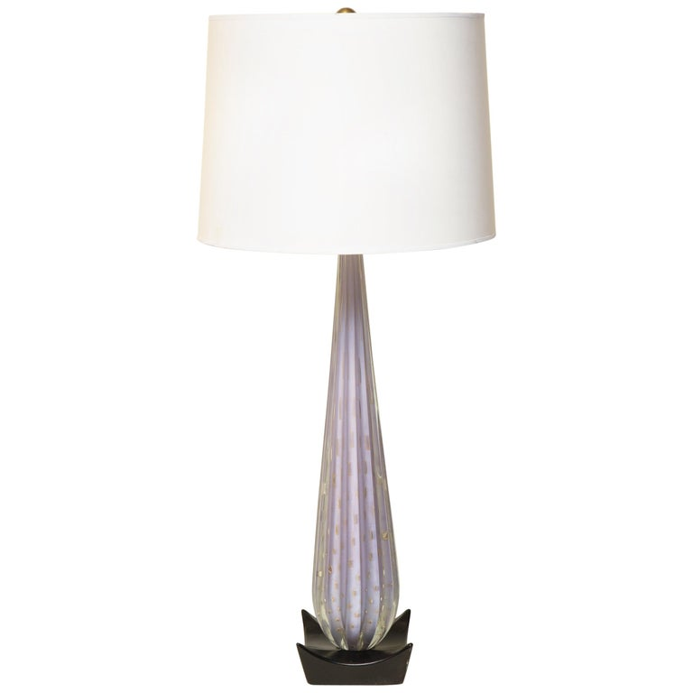 Seguso Table Lamp Mid-Century Modern Murano Art Glass, Italy, 1950s For Sale