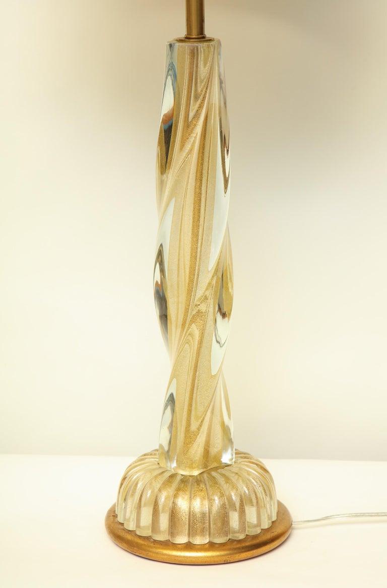 Seguso Table Lamp Murano Art Glass Mid-Century Modern, Italy, 1950s For Sale 4
