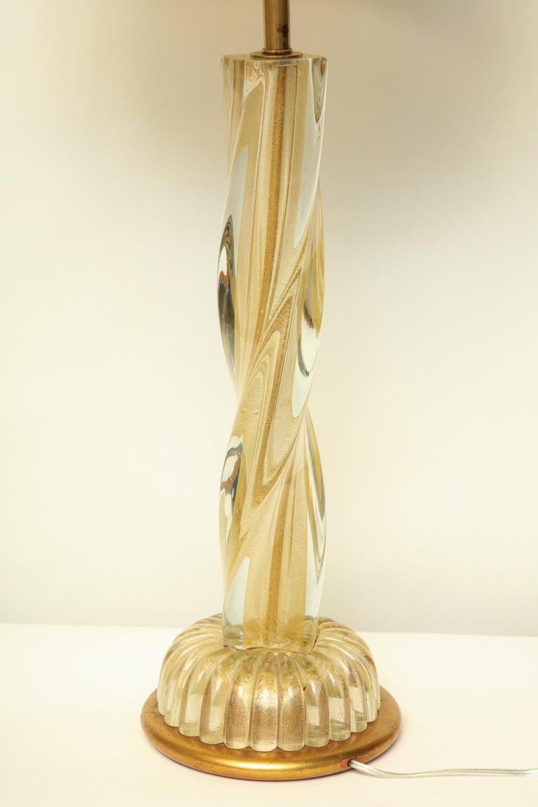 Seguso Table Lamp Murano Art Glass Mid-Century Modern, Italy, 1950s For Sale 5