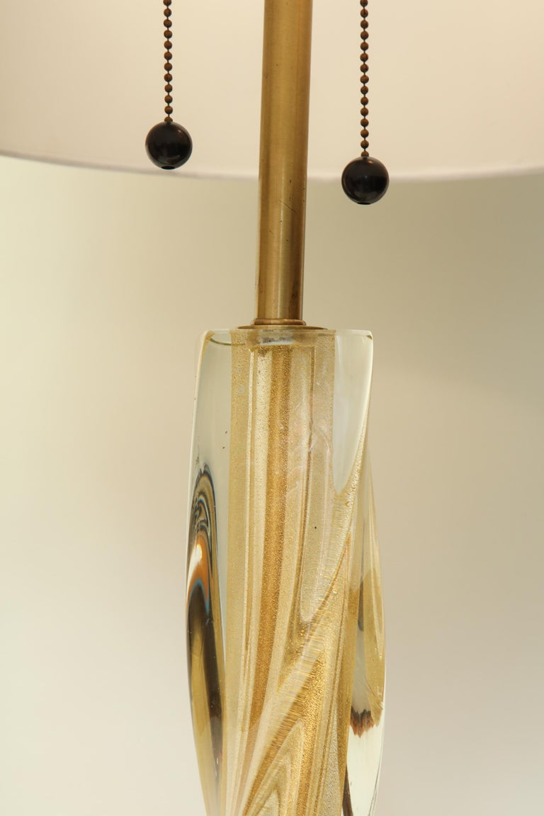 Seguso Table Lamp Murano Art Glass Mid-Century Modern, Italy, 1950s In Good Condition For Sale In New York, NY