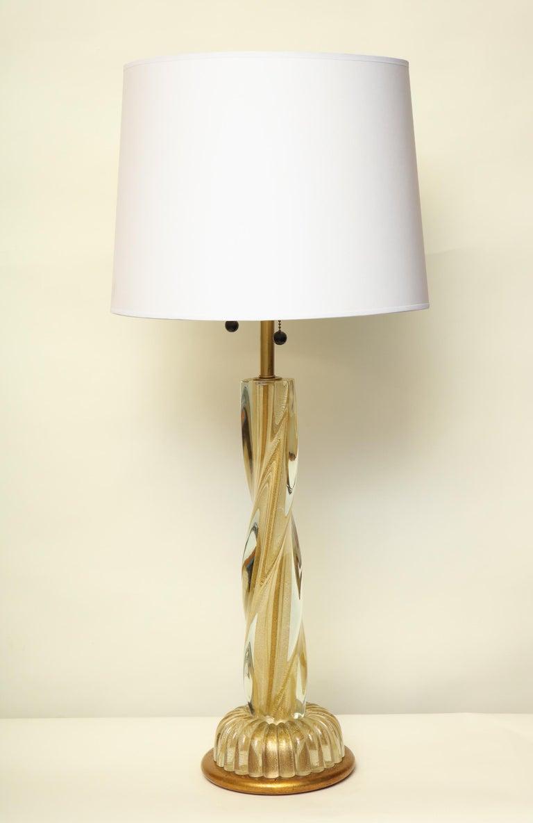 Seguso Table Lamp Murano Art Glass Mid-Century Modern, Italy, 1950s For Sale 1