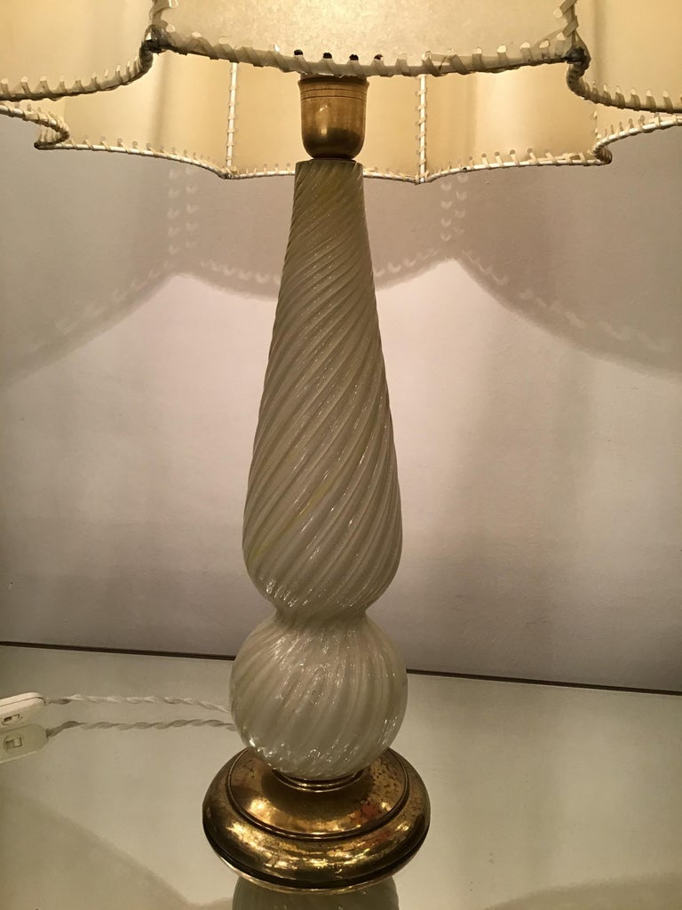 Seguso Table Lamp Murano Glass Brass Lampshade, 1940, Italy For Sale 5