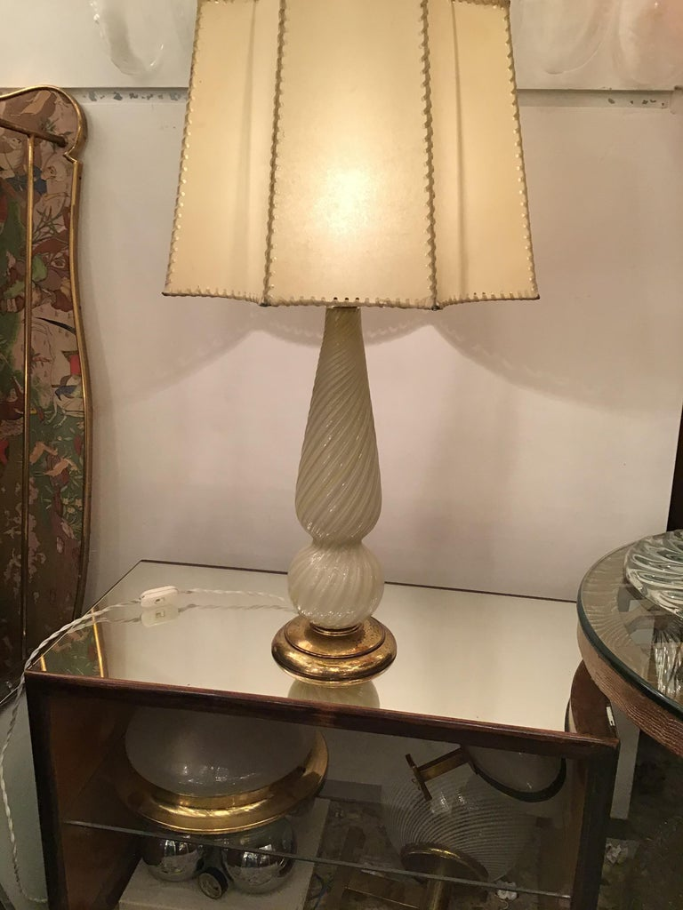 Seguso Table Lamp Murano Glass Brass Lampshade, 1940, Italy For Sale 6
