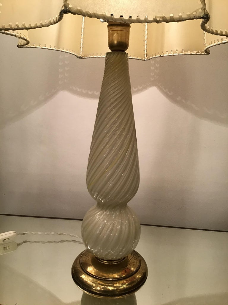Seguso Table Lamp Murano Glass Brass Lampshade, 1940, Italy For Sale 8
