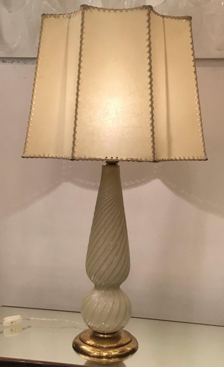 Seguso Table Lamp Murano Glass Brass Lampshade, 1940, Italy For Sale 9