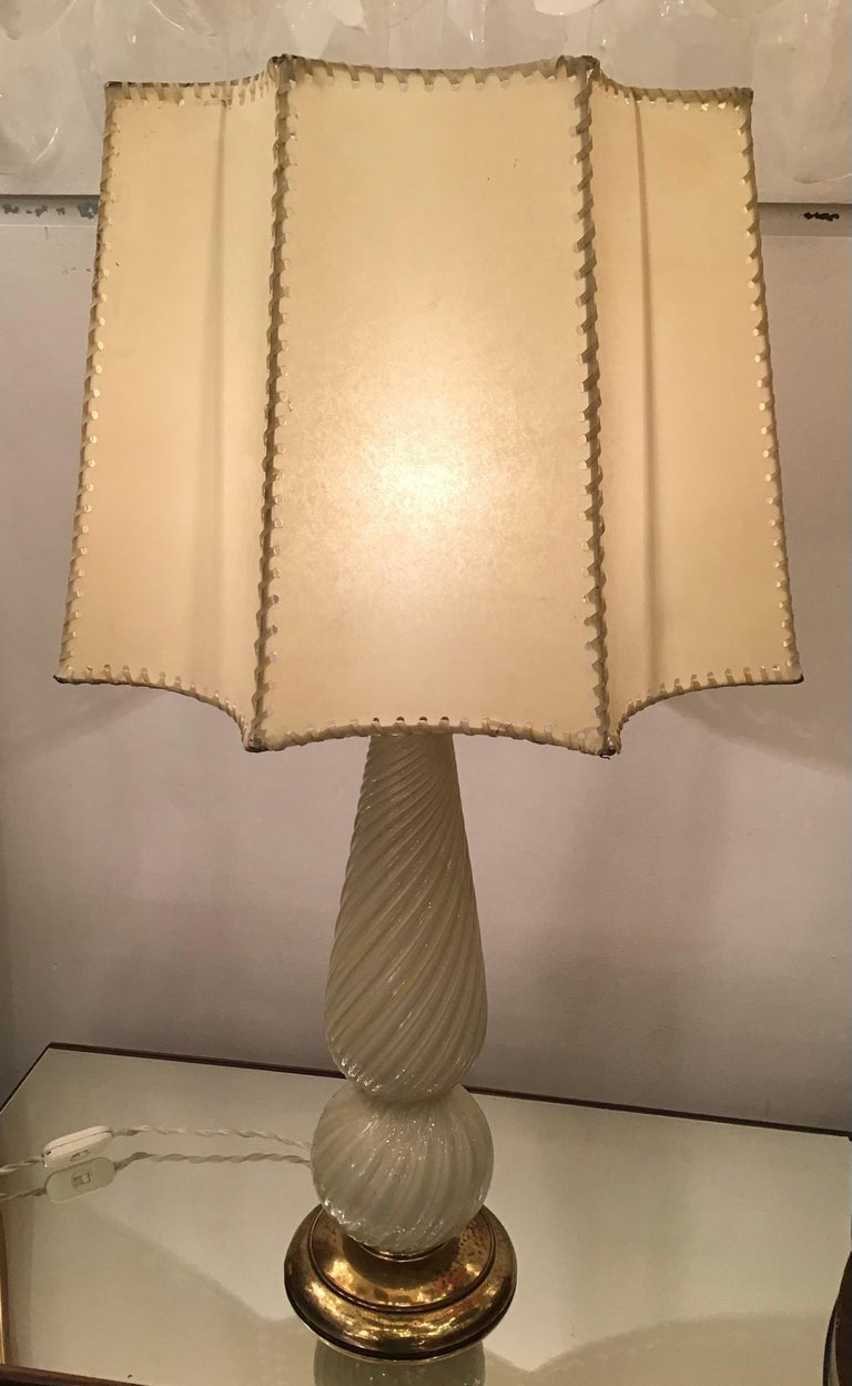 Seguso Table Lamp Murano Glass Brass Lampshade, 1940, Italy For Sale 1