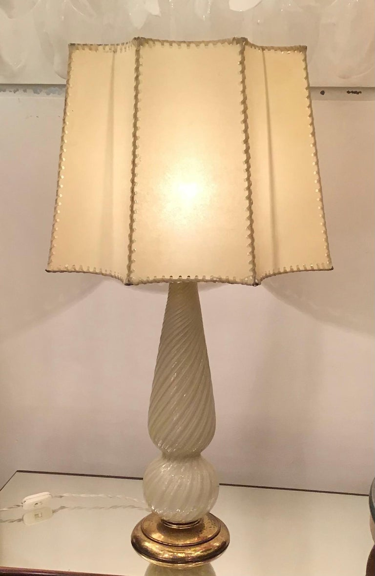 Seguso Table Lamp Murano Glass Brass Lampshade, 1940, Italy For Sale 3
