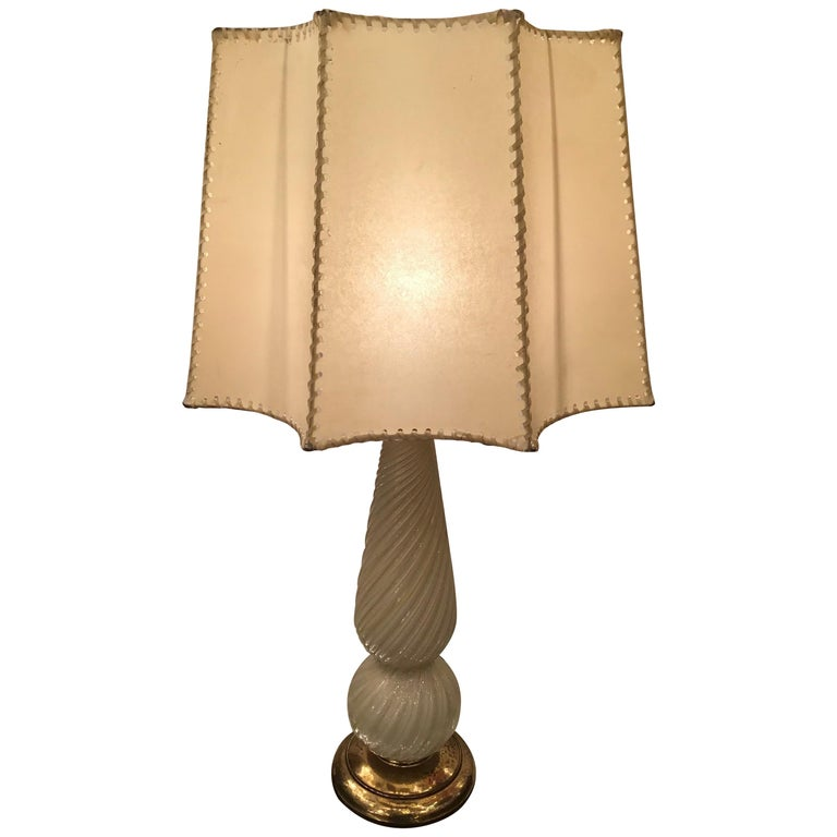 Seguso Table Lamp Murano Glass Brass Lampshade, 1940, Italy For Sale