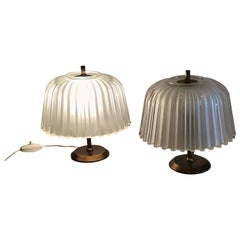 Seguso Table Lamps 1930 Brass Glass, Italy