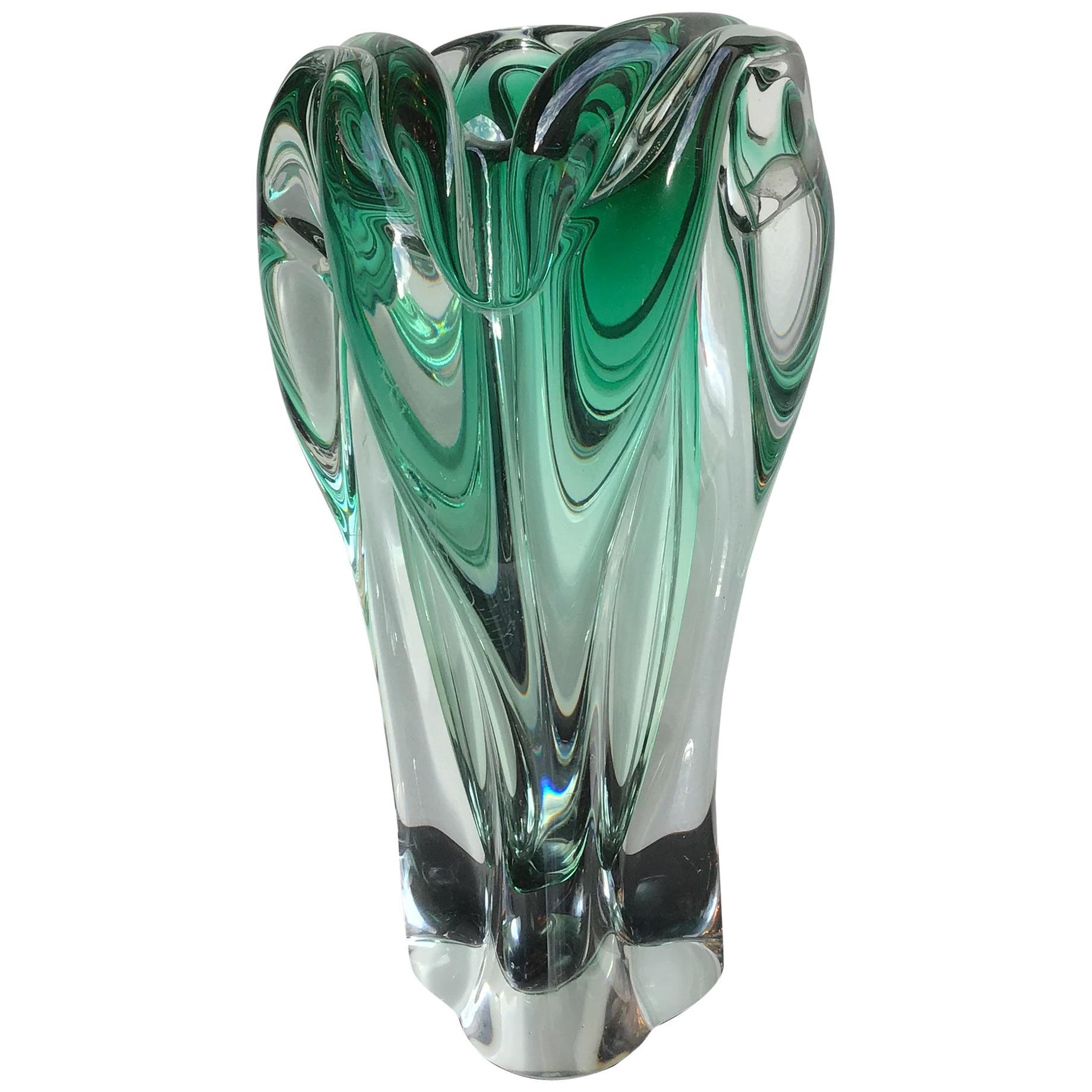 Seguso Vase Green Murano Glass, 1950, Italy
