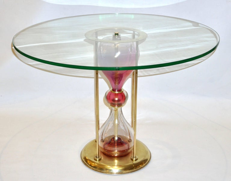 Hand-Crafted Seguso Vetri d'Arte, 1960s Italian Brass and Pink Glass Round Side/End Table For Sale