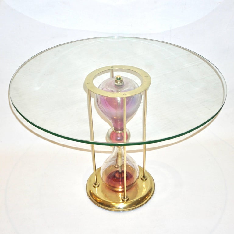 Seguso Vetri d'Arte, 1960s Italian Brass and Pink Glass Round Side/End Table For Sale 2