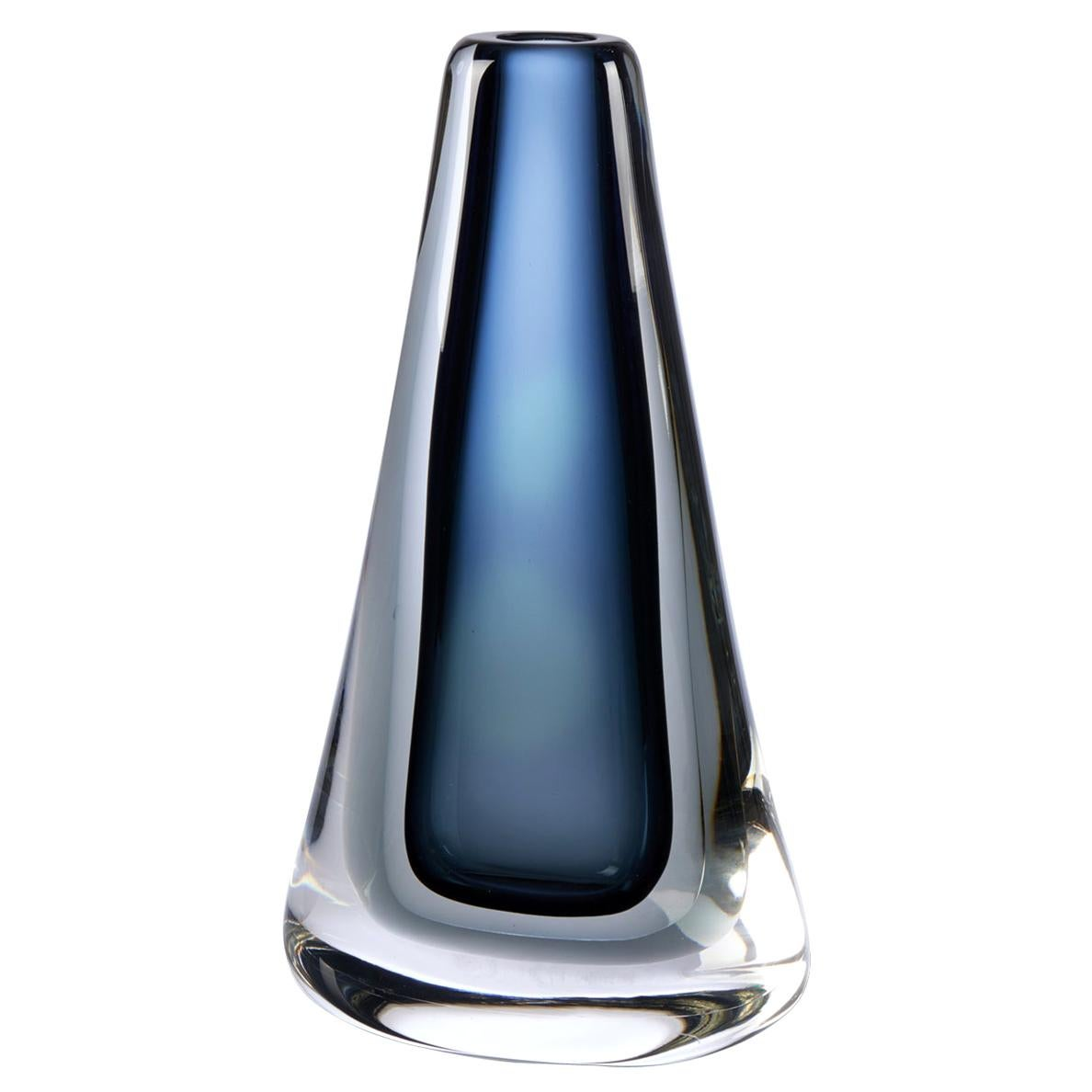 Seguso Vetri d'Arte Angelo Lapis Grey Sommerso Vase Murano Glass
