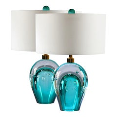 Seguso Vetri d'Arte Bolle Table Lamp Aqua, Gray, Clear, Murano Glass