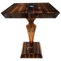 Seguso Vetri d'Arte Brown Taupe and Ebony Side Table Murano Glass