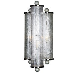 Seguso Vetri d'Arte Cilindri Sconce Clear with Silver Murano Glass