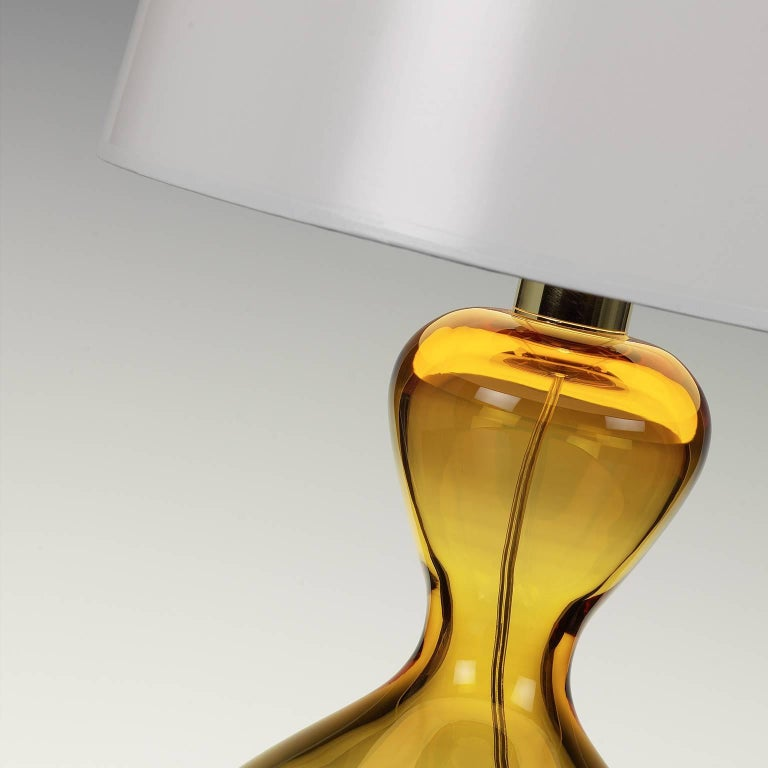 Seguso Vetri D Arte Clessidra Table Lamp Amber Murano Glass For Sale