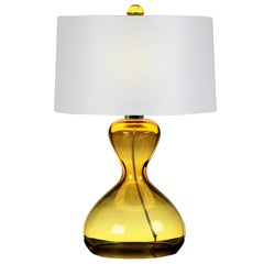 Seguso Vetri d'Arte Clessidra Table Lamp Amber Murano Glass