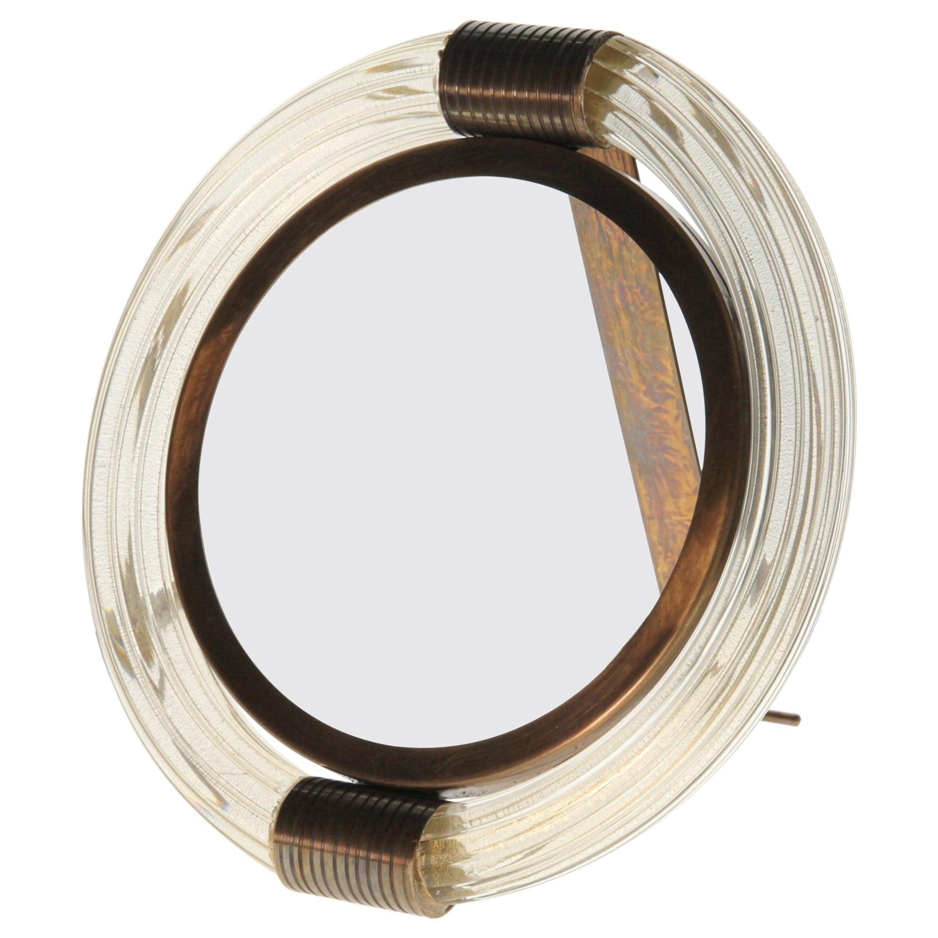 Seguso Vetri d'Arte, Four Picture/Mirror Frame, Massiccio Murano Glass, Brass