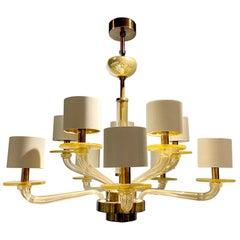 Seguso Vetri d'Arte Gold Modern Chandelier, Burnished Murano Glass