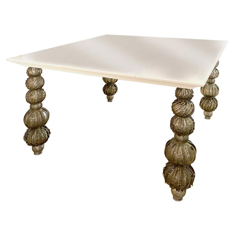 Seguso Vetri d'Arte Gray Glass, White Lacquered Table Murano Glass