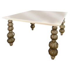 Seguso Vetri d'Arte Gray Glass, White Lacquered Table Murano Glass