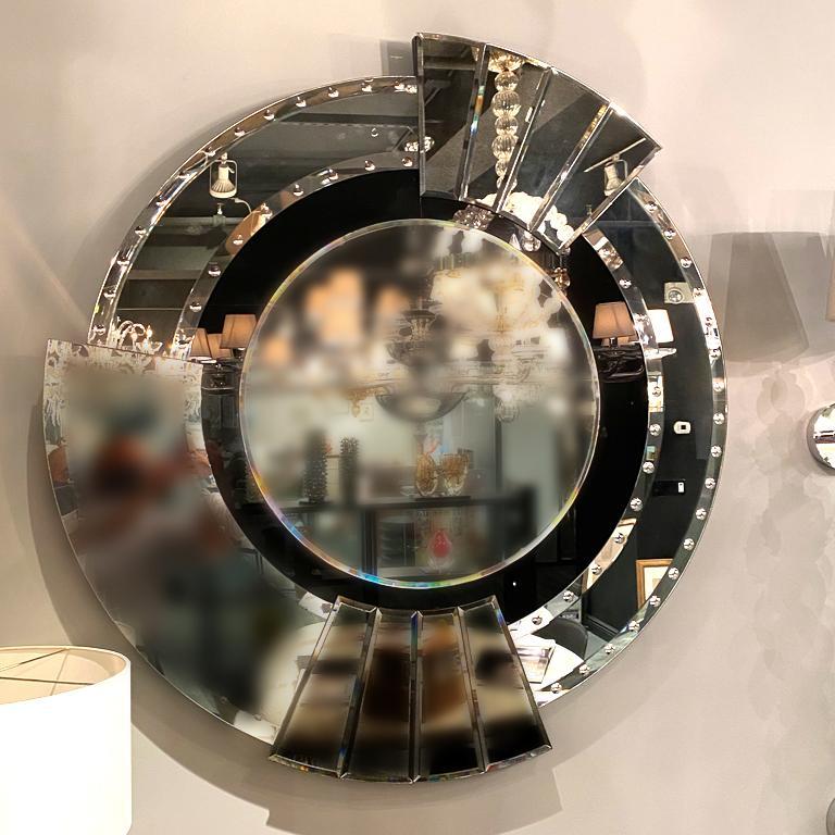 Hand-Crafted Seguso Vetri d'Arte Maravege Mirror Murano Glass For Sale
