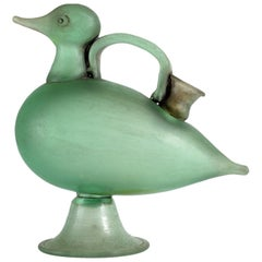 Seguso Vetri D'Arte Midcentury Duck-Shaped Acid-Etched Murano Blown Glass Vase
