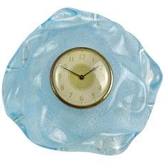 Seguso Vetri d'Arte Murano Blue Pulegoso Bubbles Italian Art Glass Desk Clock