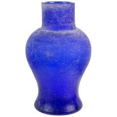 Seguso Vetri d'Arte Murano Blue Scavo Texture Italian Art Glass Flower Vase