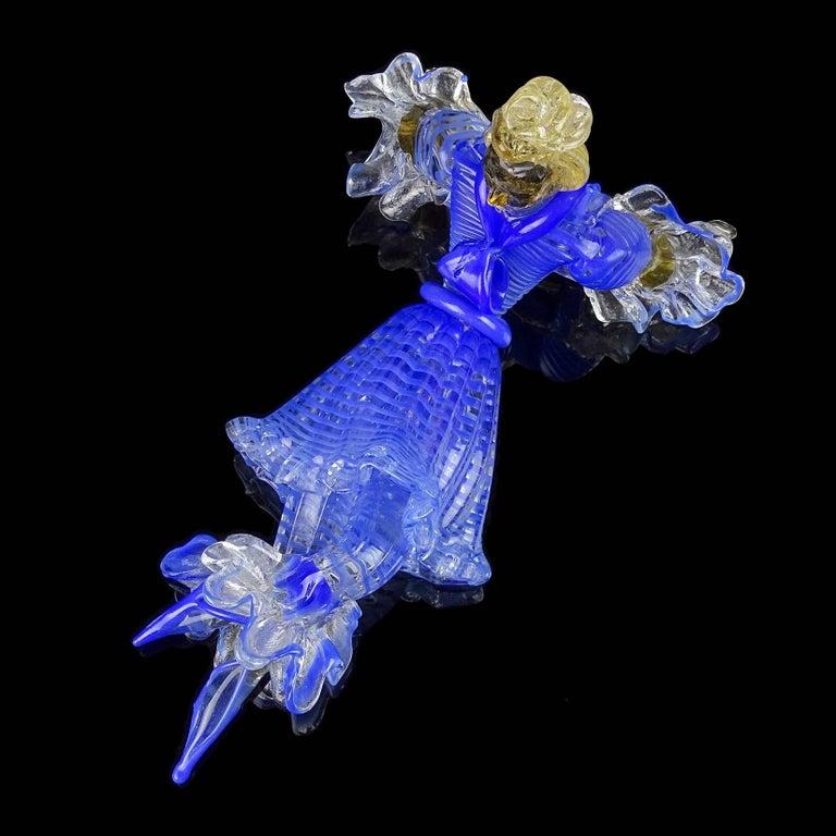 Mid-Century Modern Seguso Vetri d'Arte Murano Blue Stripes Dress Italian Art Glass Ballerina Figure For Sale